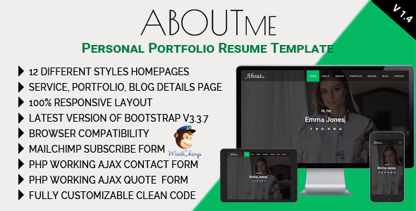 Image of AboutMe - Personal Portfolio Resume Template