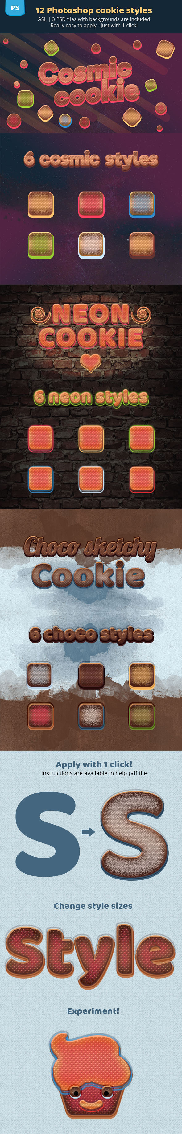 Cosmic Cookies Photoshop Text Styles - Text Effects Actions