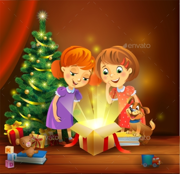 GraphicRiver Christmas Miracle Girls Opening a Magic Gift 21068291