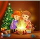 Christmas Miracle - Girls Opening a Magic Gift - GraphicRiver Item for Sale
