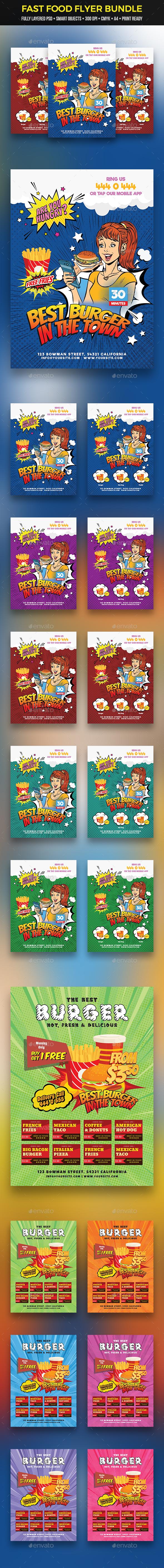 GraphicRiver Fast Food Flyer Bundle 21053450