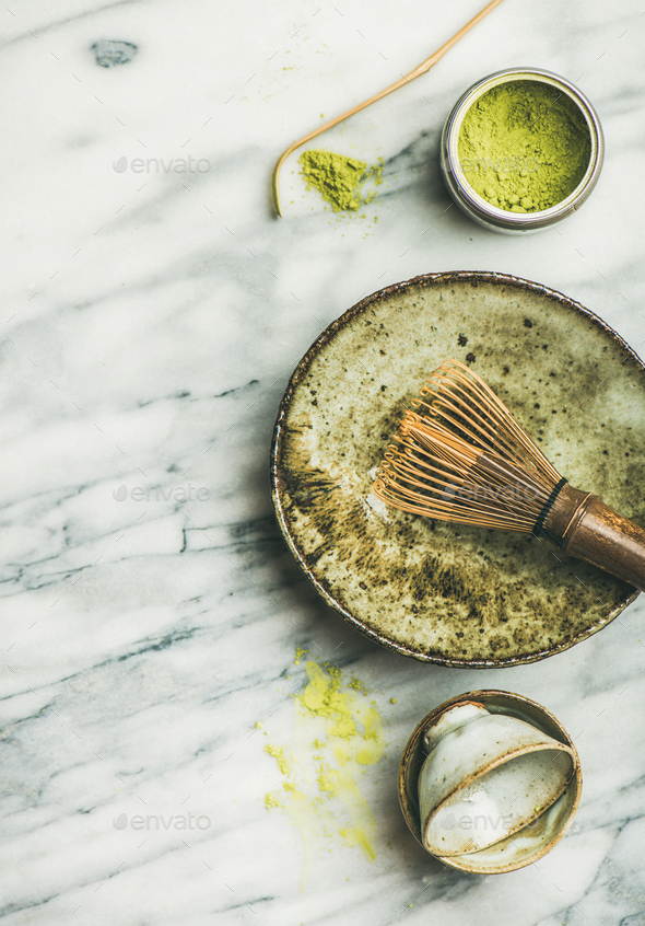 Japanese tools and cups for brewing matcha green tea - Stock Photo - Images
