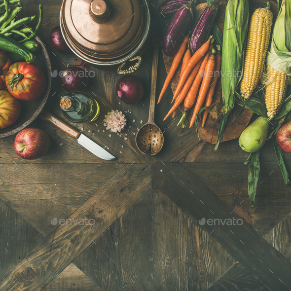 Autumn ingredients for Thanksgiving day dinner preparation, square crop - Stock Photo - Images