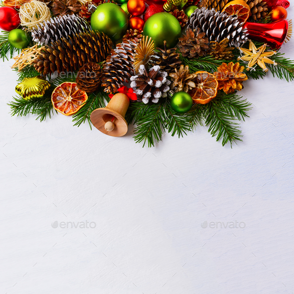 Christmas arrangement with fir branches and green balls, copy sp - Stock Photo - Images