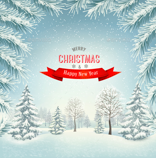 Christmas Holiday Background With Winter Landscape - Christmas Seasons/Holidays