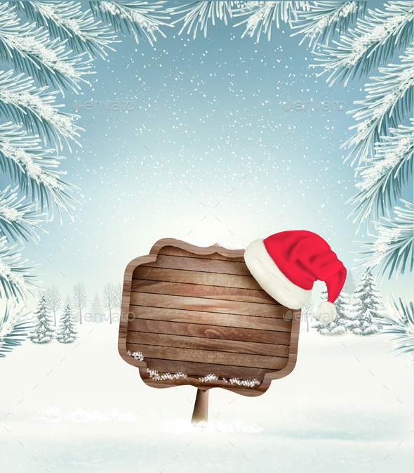 Christmas Holiday Background With Landscape and Santa Hat - Christmas Seasons/Holidays