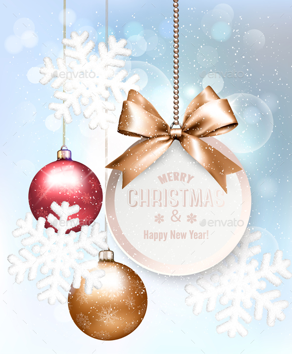 Christmas Holiday Background With Snowflakes and Balls - Christmas Seasons/Holidays