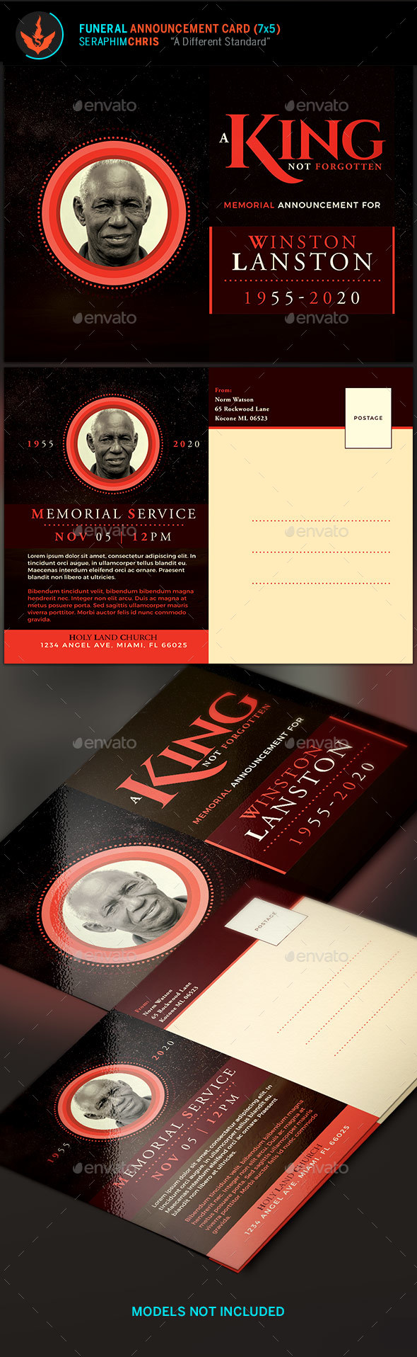 King Funeral Announcement Card Template - Cards & Invites Print Templates