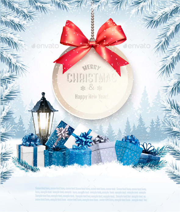GraphicRiver Christmas Holiday Banners With Presents And Gift Card 21068914