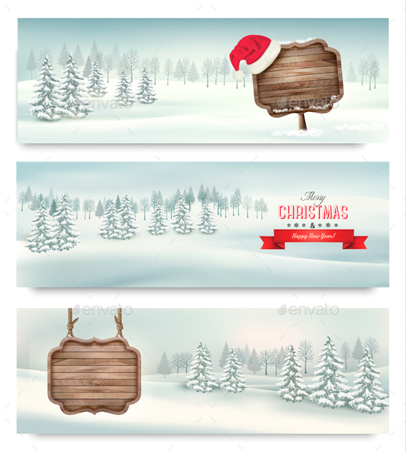 Christmas Holiday Banners With Winter Landscape - Christmas Seasons/Holidays