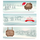 Christmas Holiday Banners With Winter Landscape
