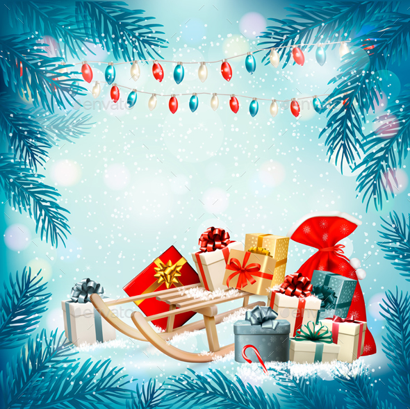 GraphicRiver Christmas Holiday Background With Presents And Tree 21068930