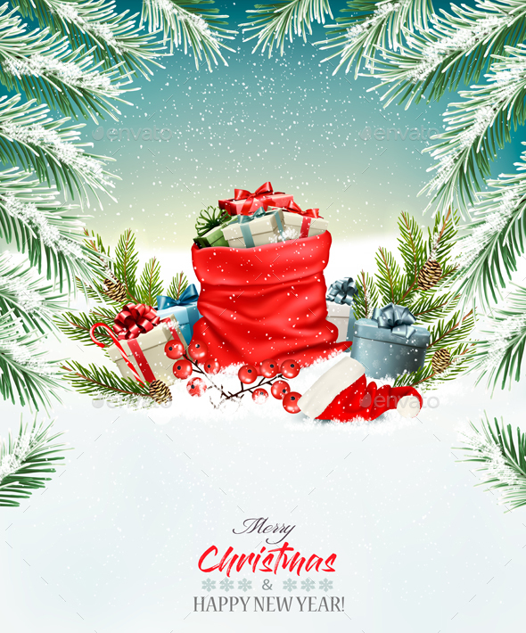 GraphicRiver Christmas Holiday Background and Presents 21068935