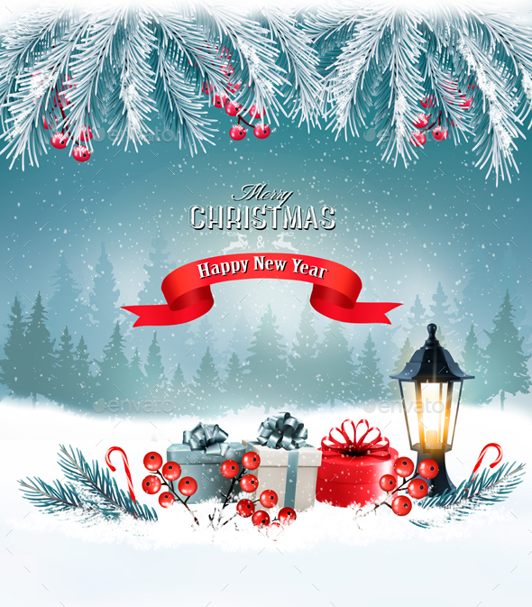 GraphicRiver Christmas Holiday Background With Presents And Tree 21068939