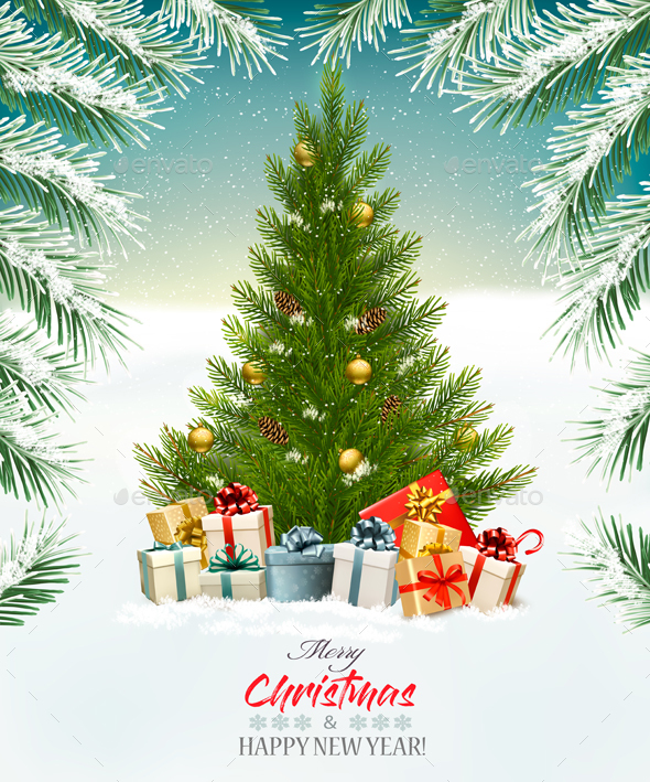 GraphicRiver Christmas Holiday Background With Presents And Tree 21068947
