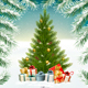 Christmas Holiday Background With Presents And Tree