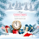 Christmas Holiday Background And Presents And Clock