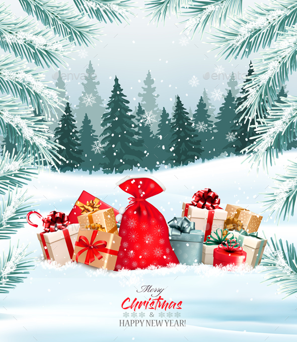 Christmas Holiday Background With Presents And Tree - Christmas Seasons/Holidays