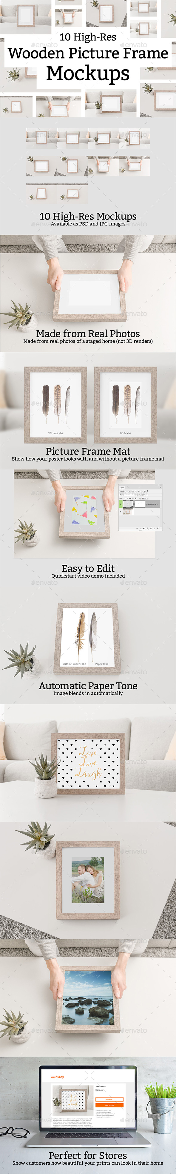 GraphicRiver 10 Wooden Picture Frame Mockups 21068987
