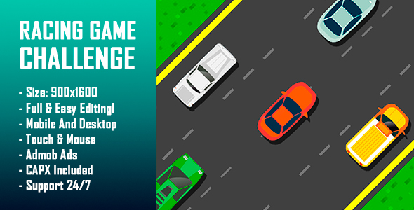 Download Racing Game Challenge - HTML5 Game + Mobile Version! (Construct-2 CAPX)