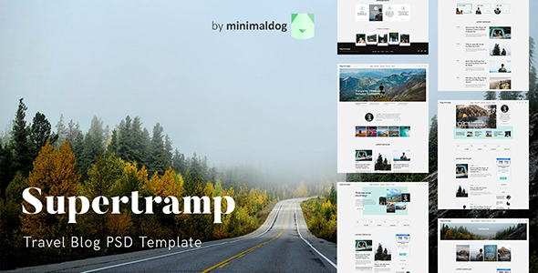 ThemeForest Supertramp Travel Blog PSD Template 21069177