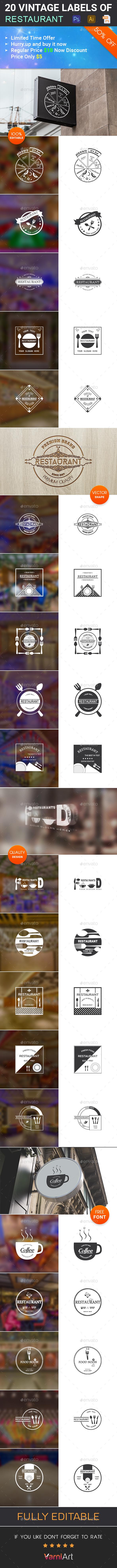20 Restaurant Vintage Labels - Badges & Stickers Web Elements