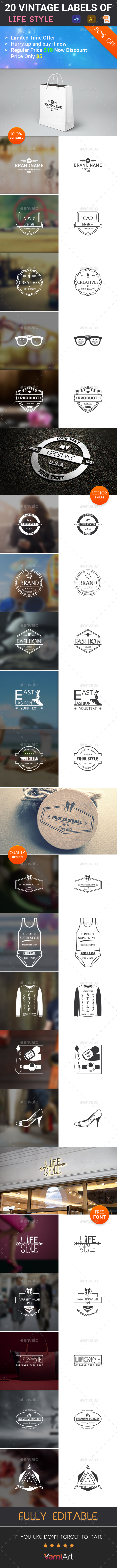 20 Lifestyle Vintage Labels - Badges & Stickers Web Elements