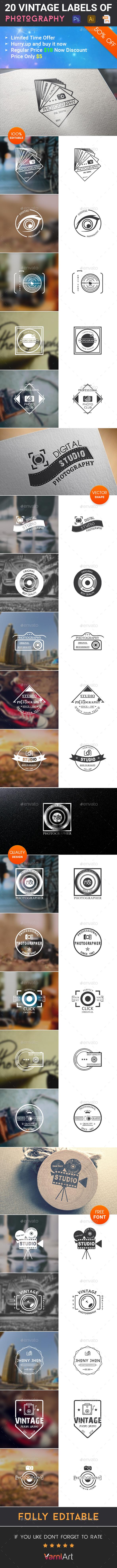 20 Photography Vintage Labels - Badges & Stickers Web Elements