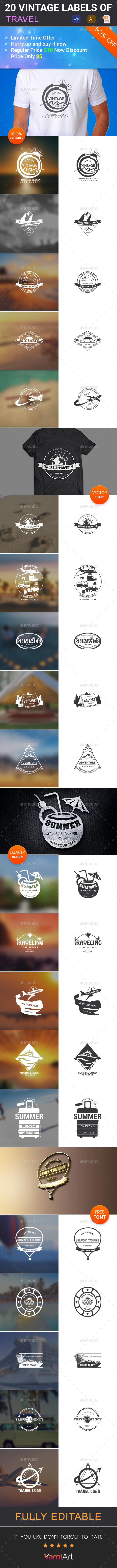 20 Travel Vintage Labels - Badges & Stickers Web Elements