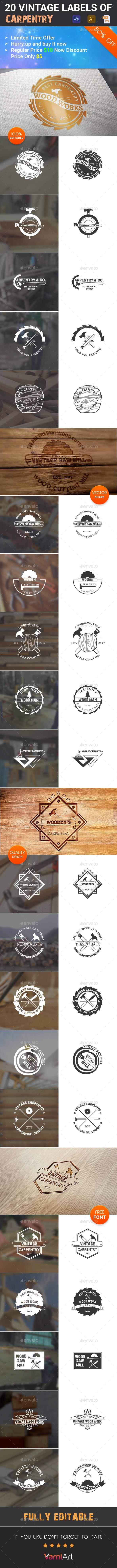 20 Carpenter Vintage Labels - Badges & Stickers Web Elements