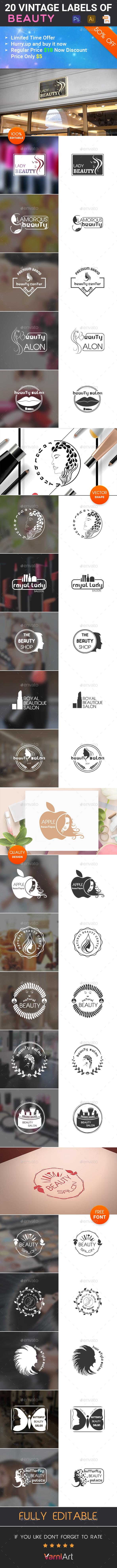 20 Beauty Vintage Labels - Badges & Stickers Web Elements