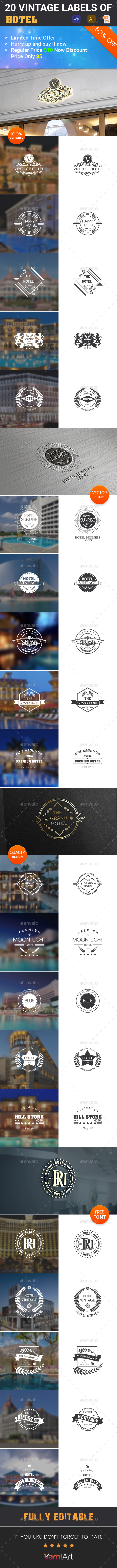 20 Hotel Vintage Labels - Badges & Stickers Web Elements