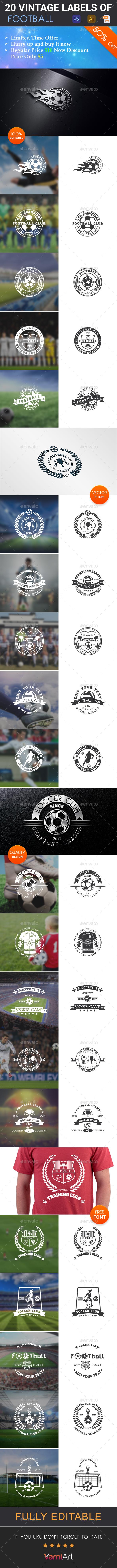 20 Football Club Vintage Labels - Badges & Stickers Web Elements