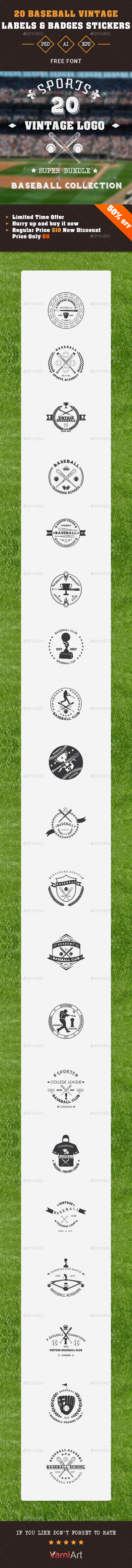 20 Baseball Club Vintage Labels - Badges & Stickers Web Elements