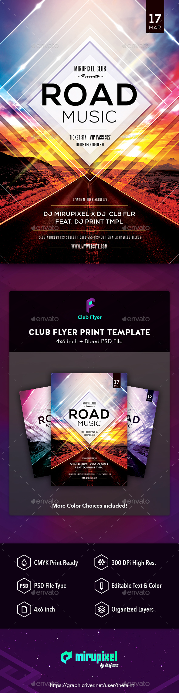 Club Flyer - Road Music - Clubs & Parties Events