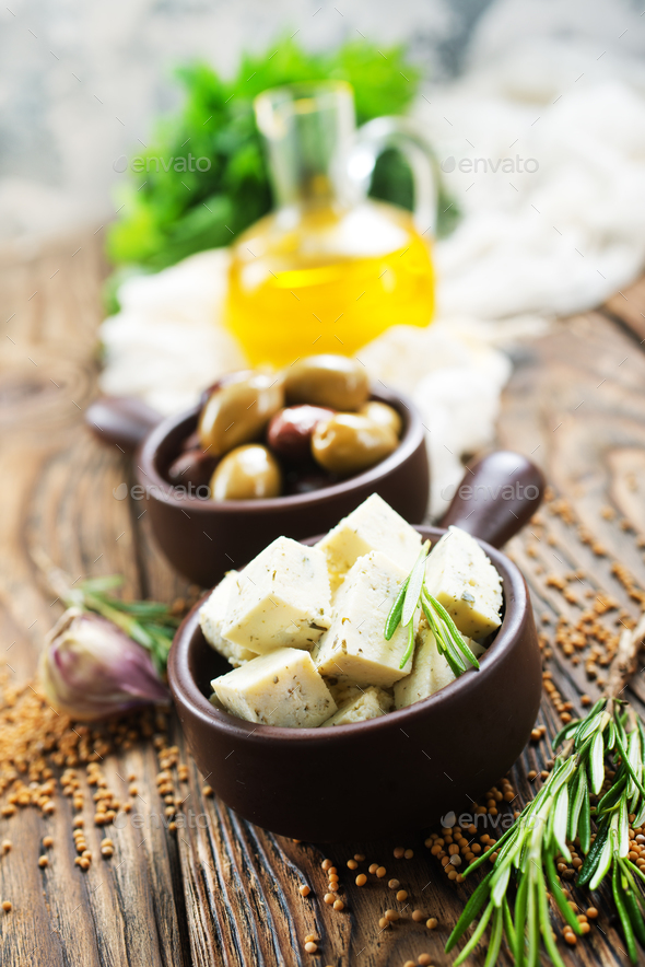 cheese and olives - Stock Photo - Images