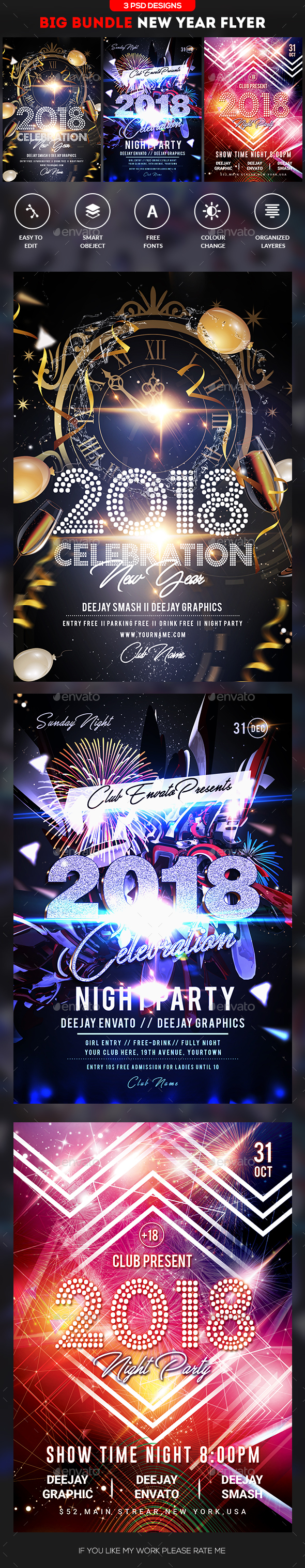 GraphicRiver 2018 New Year Eve Bundle 21069625