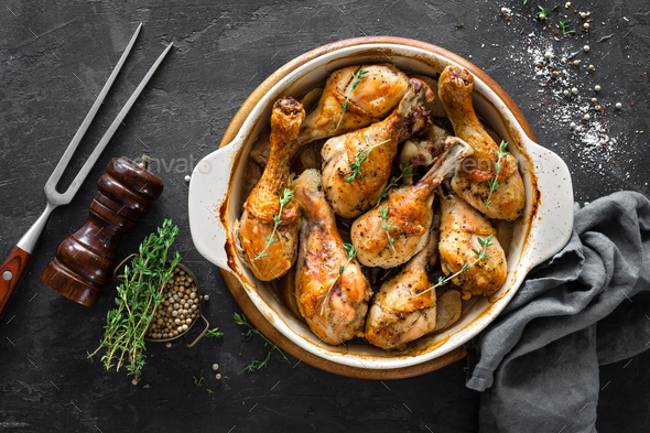 Baked chicken legs. top view - Stock Photo - Images