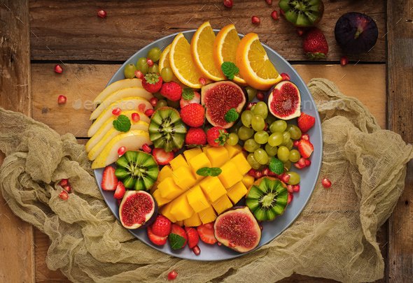 Platter fruits and berries. - Stock Photo - Images