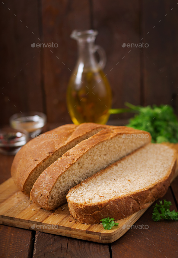 Homemade wholemeal bread sliced - Stock Photo - Images