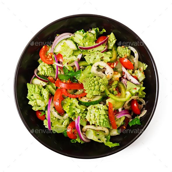 Vegan salad of fresh vegetables and cabbage romanesko - Stock Photo - Images