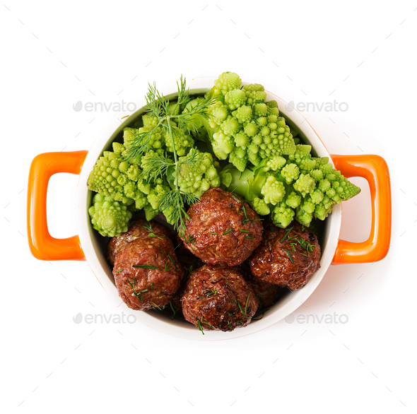 Baked beef meatballs and garnish from boiled cabbage romanesko. - Stock Photo - Images