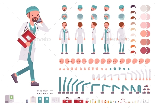 GraphicRiver Male Doctor in White Uniform Character Creation 21070222