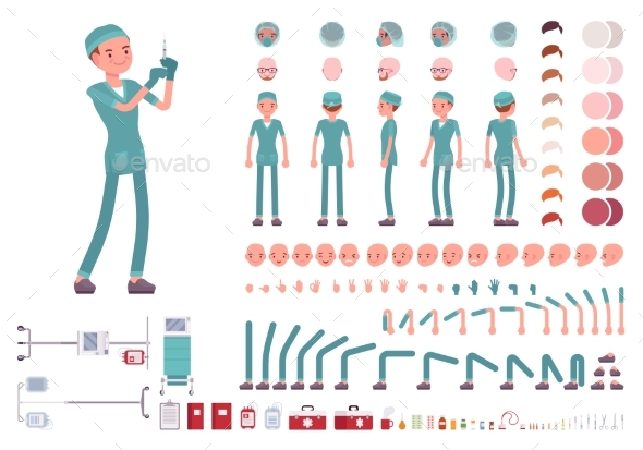 GraphicRiver Male Nurse in Hospital Uniform Character Creation 21070226