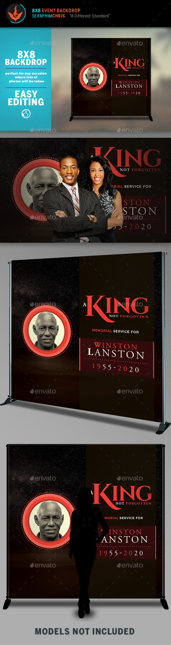 King 8x8 Funeral Backdrop Template - Signage Print Templates