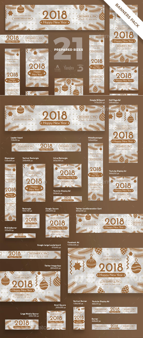 Happy New Year Banner Pack - Banners & Ads Web Elements