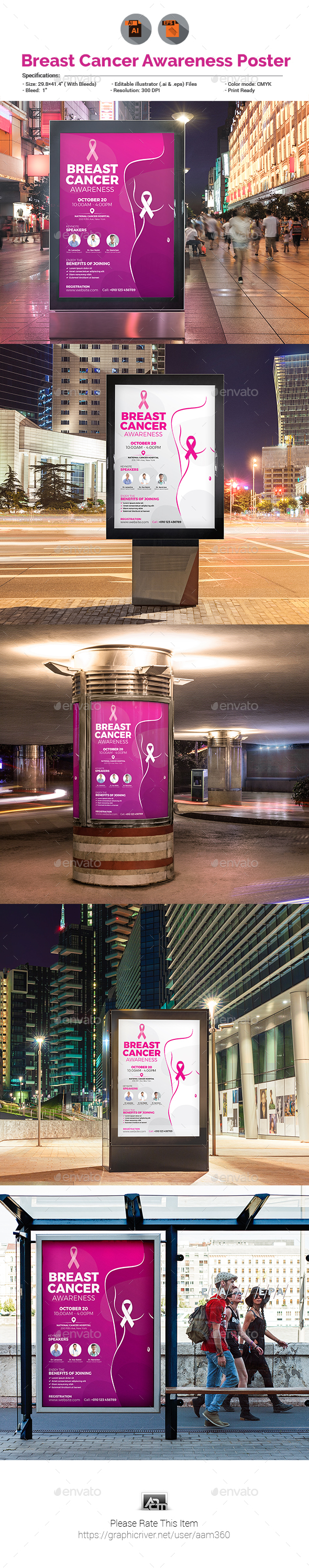 Breast Cancer Awareness Poster - Signage Print Templates