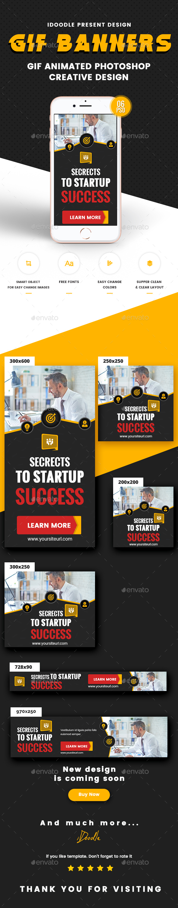 Animated Multipurpose, Business, Startup Banners Ads - Banners & Ads Web Elements
