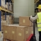 Female Warehouse Worker with Hand Forklift Truck. - VideoHive Item for Sale