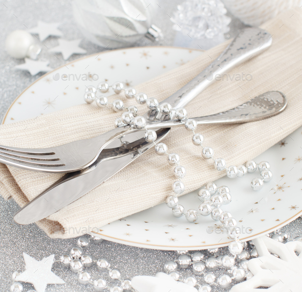Silver Christmas Table Setting - Stock Photo - Images
